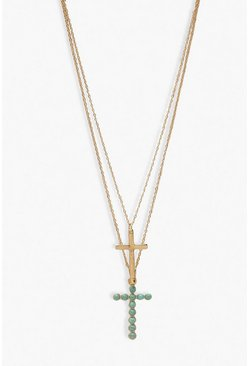 Double Chain & Cross Necklace, Gold