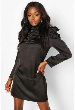 Black Satin High Neck Ruched Shift Dress