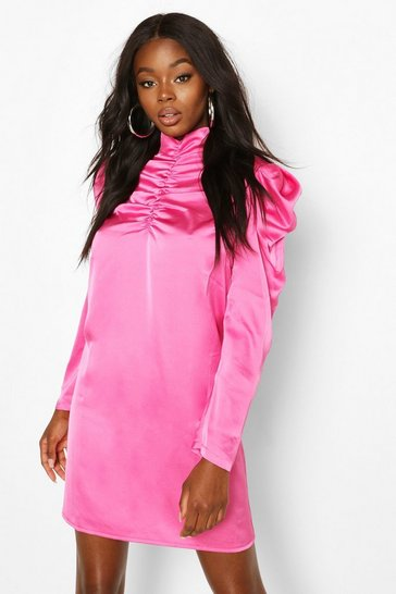 Pink Satin High Neck Ruched Shift Dress