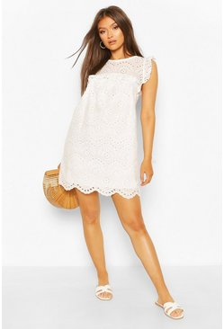 Broderie Anglais Tie Neck Drop Hem Shift Dress, White