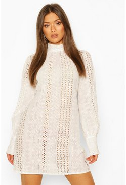 White Broderie Anglais High Neck Shift Dress