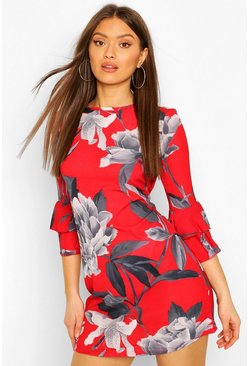 Frill Sleeve Floral Shift Dress, Red