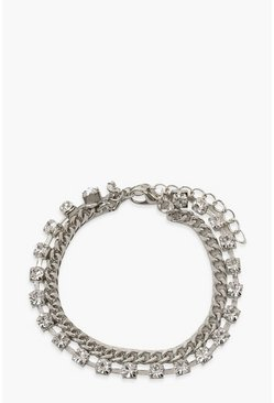 Chunky Chain & Diamante Anklet, Silver