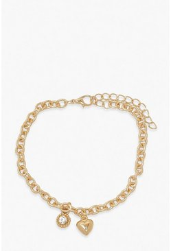 Gold Heart & Diamante Anklet