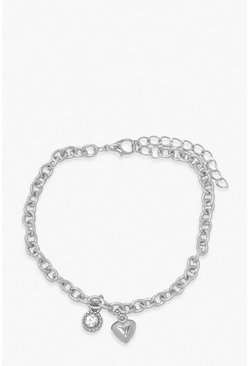 Heart & Diamante Anklet, Silver