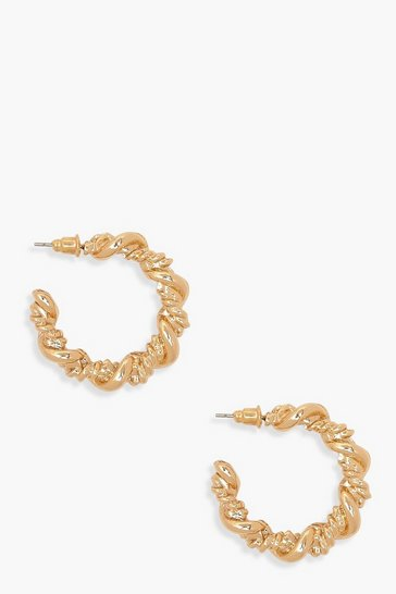 Gold Chunky Twist Chain Hoops