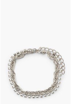 Silver Double Chain & Diamante Bracelet