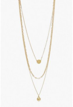 Gold Ball & Disk Layered Necklace