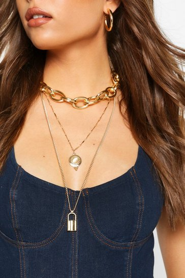 Gold Chunky Chain Layer Lock Necklace