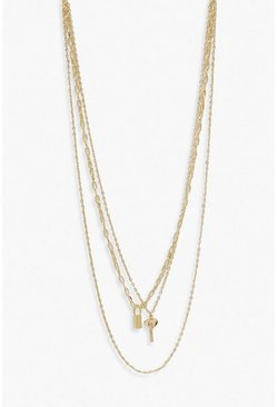 Gold Layered Key & Padlock Necklace