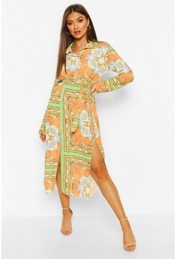 Orange Chian Print Tie Belt Split Detail Midi Dress