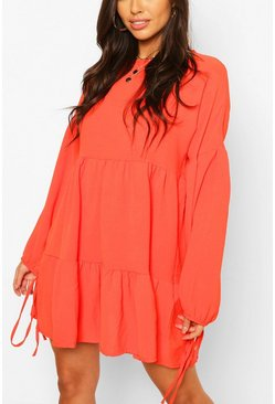 Coral Hammered Satin Tie Sleeve Tierred Smock Dress
