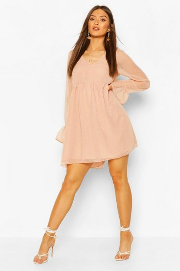 Blush Polka Dot 3/4 Sleeve Smock Dress