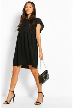 Black Frill Sleeve And Neck Smock Dress