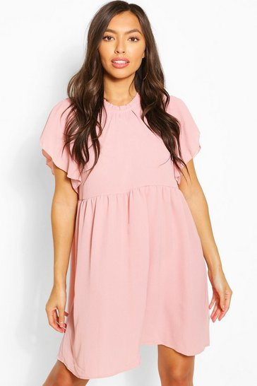Rose Frill Sleeve And Neck Smock Dress