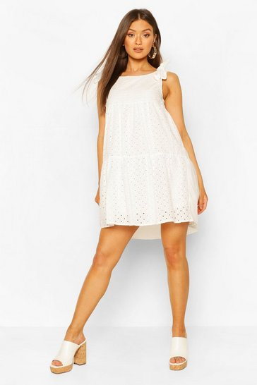 White Tie Shoulder Broderie Anglaise Smock Dress