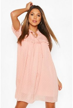 Blush Dobby Ruffle Short Sleeve Smock Dress