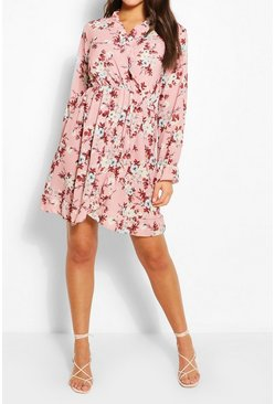 Pink Paisely Ruffle Neckline Tea Dress