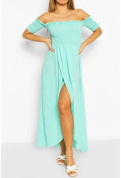 Turquoise Shirred Off The Shoulder Maxi Dress