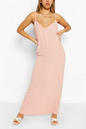Blush Plain Strappy Maxi Dress