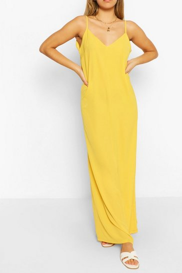 Yellow Plain Strappy Maxi Dress
