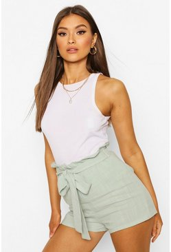 Mint Linen Look Paperbag Shorts