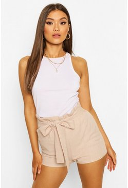 Stone Linen Look Paperbag Shorts