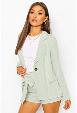 Mint Linen Look Blazer