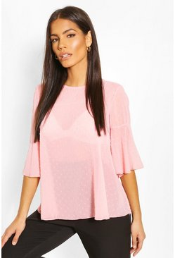 Pink Frill Sleeve Dobby Mesh Blouse