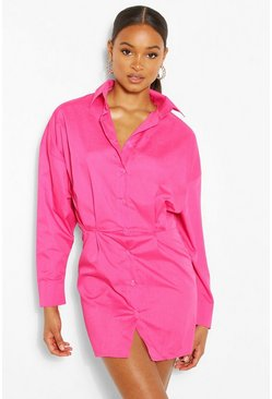Hot pink Cotton Mix Shirt Dress