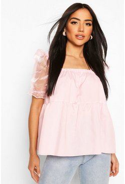 Pink Organza Cotton Peplum Mix Smock Top