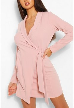 Dusky pink Tie Side Crepe Blazer Dress