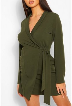 Khaki Tie Side Crepe Blazer Dress