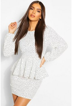 White Polkadot Peplum Balloon Sleeve Dress
