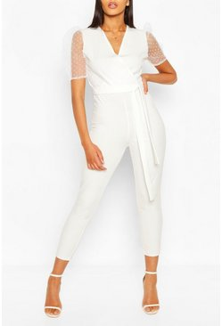 Ivory Dobby Organza Sleeve Tapered Jumpsuit