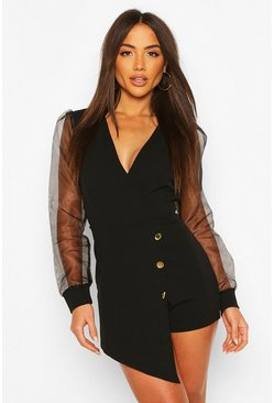 Black Organza Sleeve Blazer Playsuit