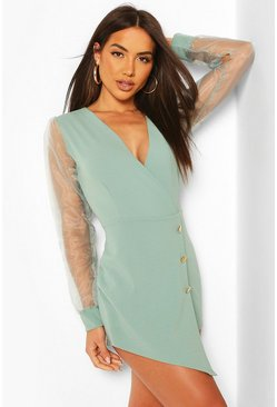 Mint Organza Sleeve Blazer Playsuit