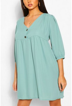 Sage Horn Button Through Smock Dress