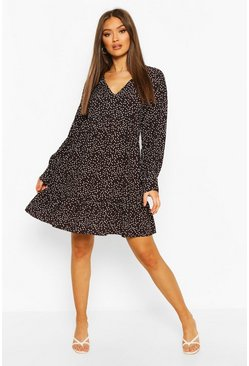 Black Polka Dot V Neck Frill Hem Smock Dress