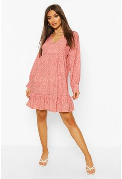 Coral Polka Dot V Neck Frill Hem Smock Dress