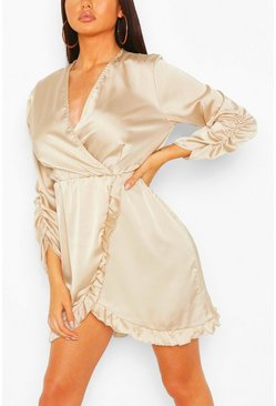 Champagne Satin Ruched Sleeve Ruffle Tea Dress