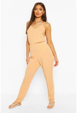 Apricot Recycled Basic Strappy Jumpsuit