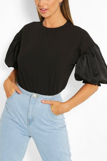 Black Satin Puff Ball Sleeve T-Shirt