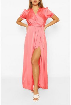 Coral Wrap Puff Sleeve Maxi Dress