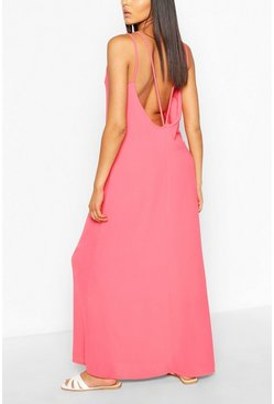 Coral Strappy Back Woven Maxi Dress