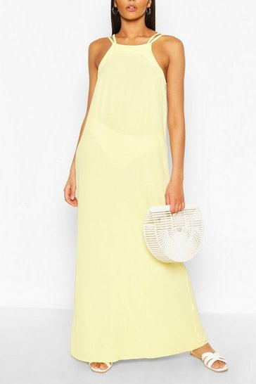Yellow Strappy Back Woven Maxi Dress