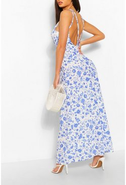 White Porcelain Print Strappy Back Maxi Dress