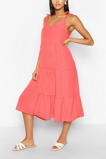 Coral Strappy Tiered Midaxi Dress