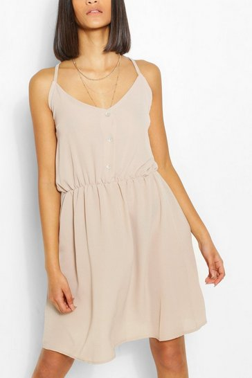 Stone Strappy Button Through Maxi Dress