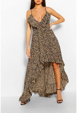 Brown Leopard Strappy Ruffle Asymmetric Hem Maxi Dress